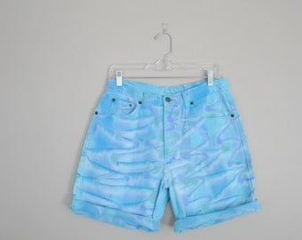 Psychedelic Blue Bear Surf Board Denim Shorts // Size 8