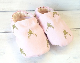 Pink and Gold Baby Shoes. Baby Shoes. Baby Girl Shoes.