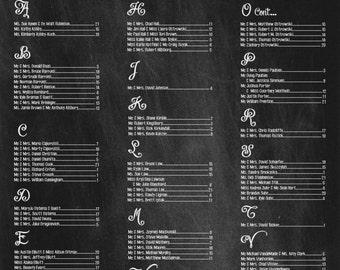 Wedding Seating Chart- Wedding chalkboard Sign/ Flower Power/ Chalkboard/ Seating Chart/ PRINTED & SHIPPED Item FPCHLK-16