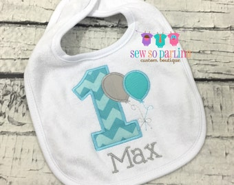 Baby Boy 1st Birthday aqua gray Bib - Boy Birthday Bib - First Birthday personalized bib