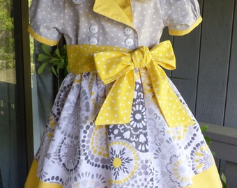 Yellow and gray retro wrap dress for little girls