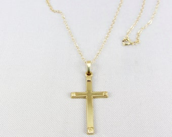 Vintage 14K Gold Cross Pendant Necklace Religious Yellow Gold Fine Jewelry