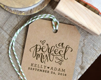 A Perfect Mix Rubber Stamp for Personalized Wedding Favor Tags w. Names and Wedding Date for Trail Mix or Candy Bar Bags