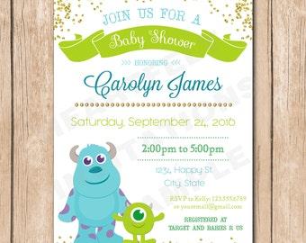 Baby Monster Shower Invitation | Neutral, Boy Or Girl, Monsters Inc., Gold