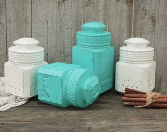 Canister Set, Shabby Chic, Aqua, White, Koeze's, Upcycled Vintage, Pressed Glass, Hand Painted, Distressed, Kitchen Storage, Kitchen Gift
