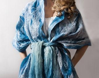MOON SEA , nuno felt shawl, silk chiffon, merino wool, blue tones
