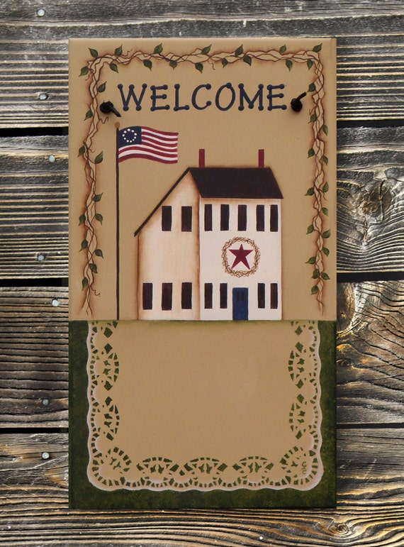 Primitive Decor Sign Saltbox House Personalized Welcome Sign