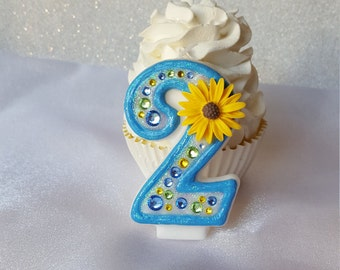 Sunflower birthday candle, frozen fever candle, Anna, anniversary candle, custom candle