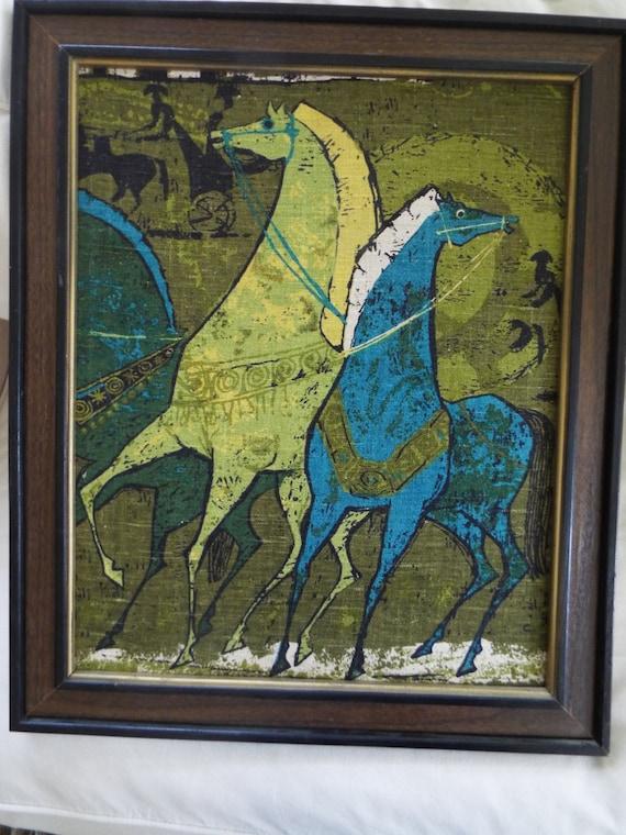 Framed Mcm Mid Century Modern Art Fabric Wall Art Horses