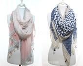 Pink Grey Navy Beige Chevron Zig Zag Pattern Oversized Tassel Woman Cotton Scarf Women Fashion Accessories Scarves Gift Ideas For Her Mom