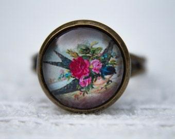 Swallow Ring, Bird Ring, Floral Bird Ring, Bird Jewelry, Bird Jewellery, Glass Dome Ring, Adjustable Ring