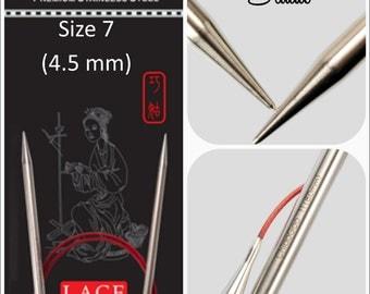 US 7 (4.50mm) Chiaogoo Red Lace Circulars - Choice of Length
