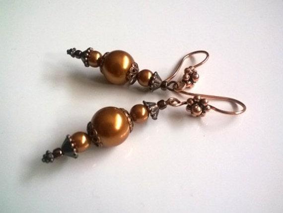 Long Copper Dangle Earrings, Pearl Earrings, Gold Tone Earrings, Copper Jewelry