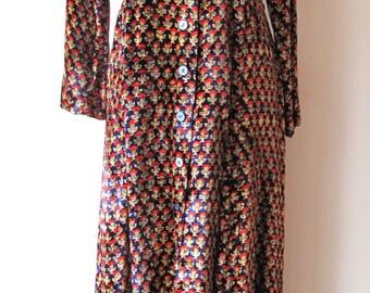 1970s Velvet Floral Maxi Dress