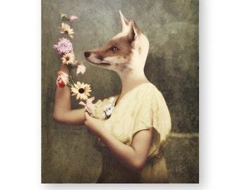 "Red Fox Art Print Animal Art Print Anthropomorphic Animals In Clothes Woodland Decor Mixed Media Collage Photography (3 sizes) ""Venus"""