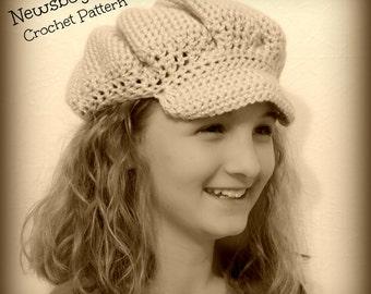 Newsboy Cap Crochet Pattern, Brimmed Hat Crochet Pattern, Crochet Pattern, Hat Crochet Pattern, Child's Crochet Hat,Women's Crochet Hat