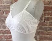 This Beauty is 25% off Full White Chemise - 1960s White Slip - Embroidery - Feminine Vintage Slip