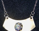 Mixed Media Stainless Steel Titanium Dichroic Cabochon Pendant