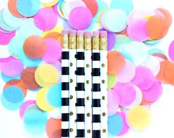 Dots + Stripes Pencil Set, Set of 6 Pencils, Quote Pencils, Pencil Set, Engrave Pencils, Desk Accessory Set, Stocking Stuffer, TED022-PNCL