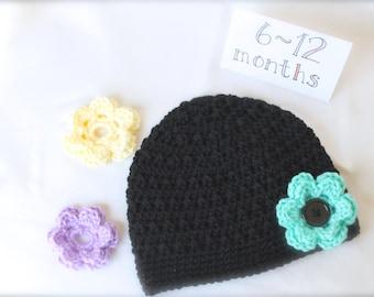 Crochet Hat with 3 Interchangeable Flowers, Infant Hat, Baby Hat, Black Hat, Interchangeable Flowers, Baby Shower Gift, Gift for Girl