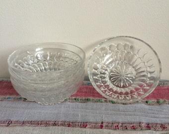 Four Vintage Glass Bowls -- Vintage Glass Kitchenware -- Four Piece Bowl Set