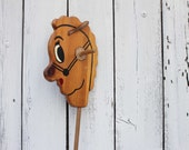 Reserved for cindy - Vintage Wooden Stick Horse / Hobby Horse / Hand Painted Face & Leather Ears