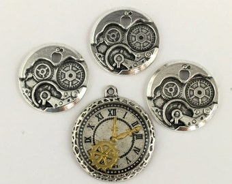 4 steampunk charms collection silver tone,24mm to 32mm  #CH 229