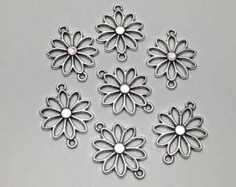 7  flower connectors antique silver, 20mm x 25mm  #CON112