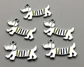 5 dachshund dog charms antique silver # CH 002