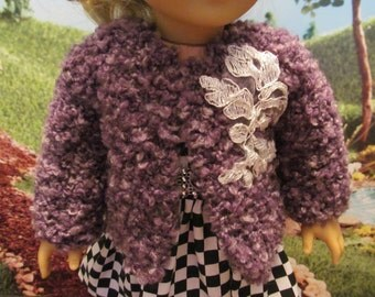 18'' Doll Hand Knit Plum Nubby , Bulky Sweater/Coat with Lace Applique , Pretty Plum Colored Bulky Sweater/Coat for Winter and Fall Wear