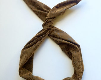 Floral Embossed Brown Faux Leather- Byrd Band- Bendable Wire Headband