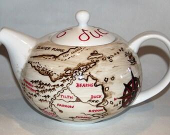 Six Duchies map teapot / Robin Hobb / Farseer Trilogy  / birthday gift