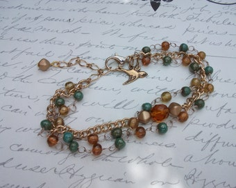 Green and amber colors bead multi chain gold bracelet