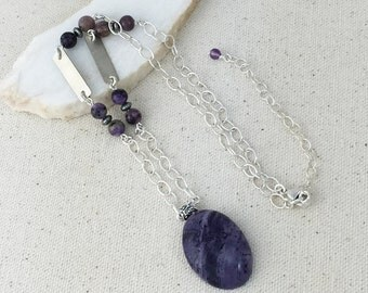 Dark Purple Beryllium Pendant Necklace on Strand of Oval Linked Silver Chain with Purple and Silver Beads