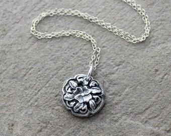 Fine Silver Vintage Button Pendant Necklace - PMC Clay Handcrafted Pendant - Floral Pendant - Jewelry Design Pendant