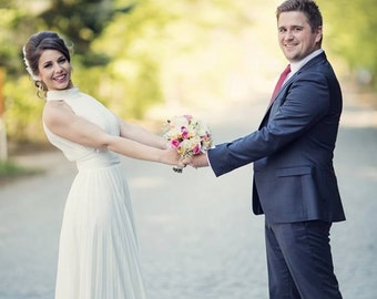 Pleated Wedding dress, Simple wedding dress, Casual Wedding Dress, Modest wedding dress, Sheath wedding dress, Chiffon wedding dress