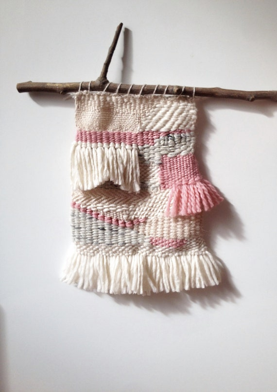 Pink, beige, white and gray / wall hanging / tapestry weaving / textile art