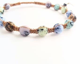 Speckled Bead Wire Shamballa Bracelet