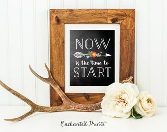 Now is the Time to Start, Chalkboard Style Quote Print, Printable art wall decor, Inspirational quotes poster - Instant Download