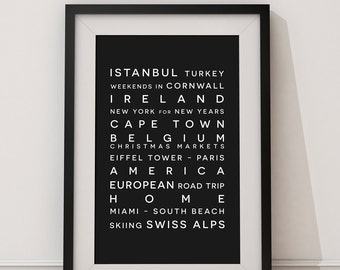 Personalised Destination Print, Personalized Bus Blind Framed Poster, Canvas