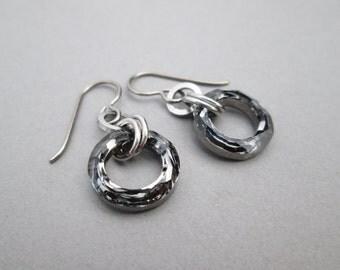Gray Crystal Earrings, Gray Swarovski Crystal Earrings, Gunmetal Earrings, Gray Crystal Jewelry, Crystal Dangle Earrings, Circle Earrings