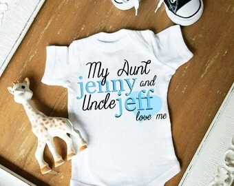 My Aunt and Uncle Love Me Cute Heart CUSTOMIZE NAME and Font Color Bodysuit by Simply Chic Baby Boutique