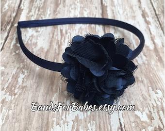 Navy Blue Satin and Tulle Flower Headband, Navy Blue Basic Headband, Girls Basic Headband, Toddler Headband, Adult Headband, Hair Bow