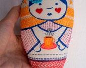 Larissa - mixed media printed, and embroidered matryoska handmade cloth doll with doll
