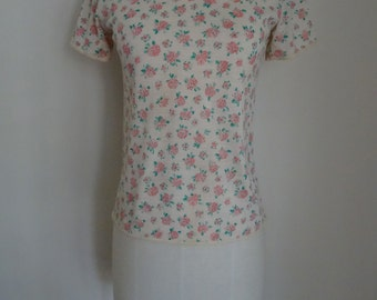 60s 70s Top T-Shirt French Floral Pink S/M