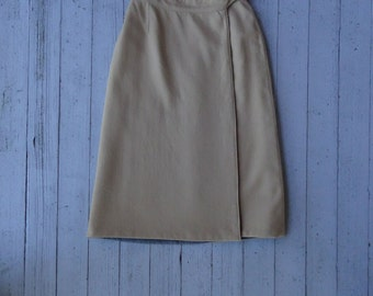 70's Wrap Skirt Reversible A-Line Wool Office Librarian Skirt Small
