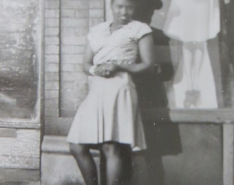 Stylish 1950's Pretty African American Black Woman Poses In Her Finest Snapshot Photo - Free Shipping