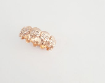 Georgian / Baroque Style Custom Skull Eternity Band w/ ROSE CUT DIAMONDS - Memento Mori - Wedding Band - Mourning Jewelry - Stacking Ring