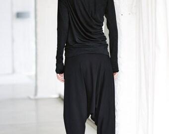 Charcoal Melange Drape Top/ Long Sleeved Blouse/ Black Melange Looose Top/ Drape Blouse by Arya Sense/ TLUB14BM
