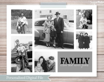 Birthday Gift for Mom, Family Photos Collage, Gift for her, Birthday Gift, Gift for grandma, Family Photos, Picture collage, Photo Collage